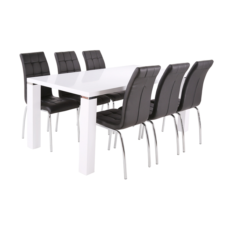 Europe Style 6 Seater White High Gloss MDF Dining Room Set White Dining <strong>Table</strong> Dining Chairs