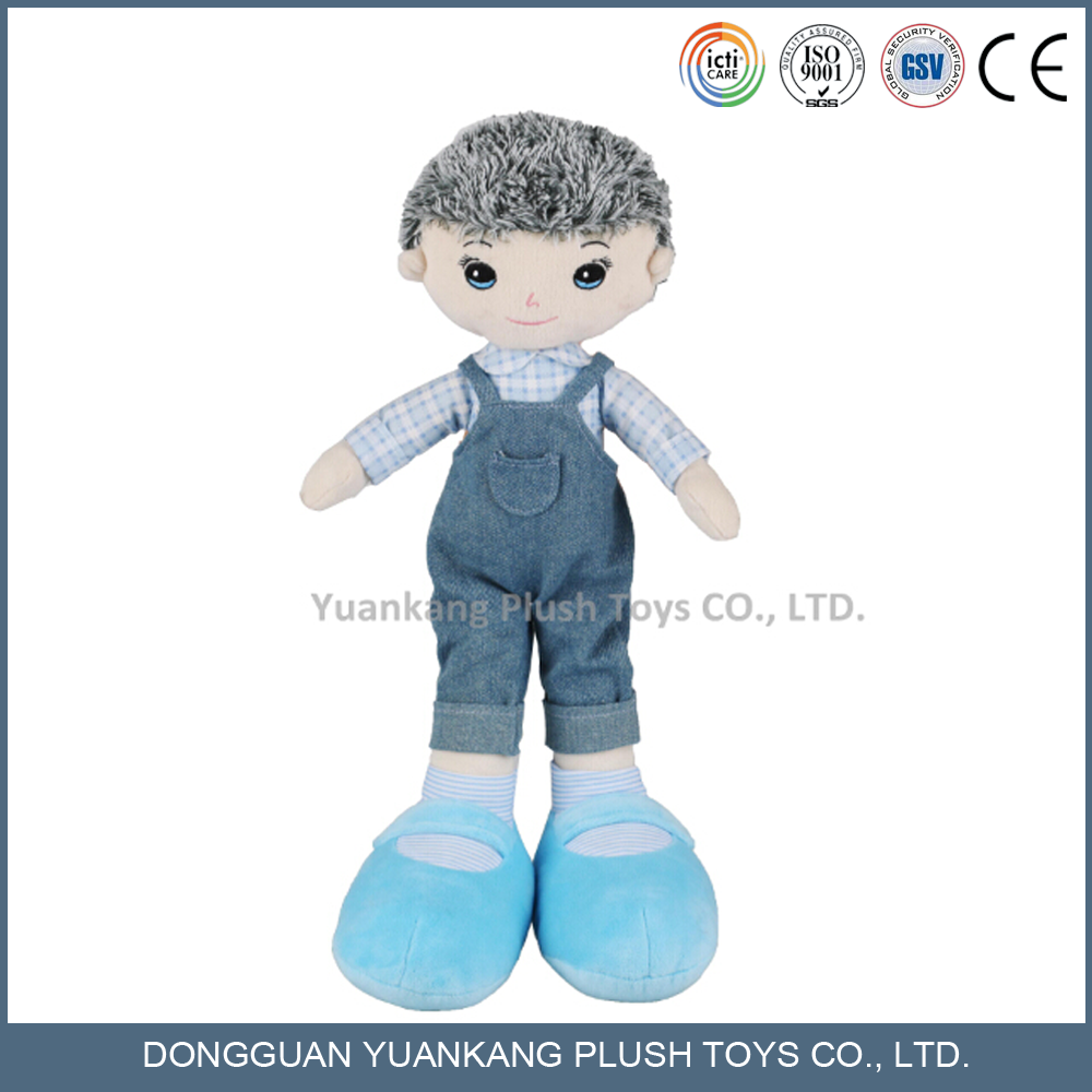 Happy boy plush stuffed doll toy with Jeans coats