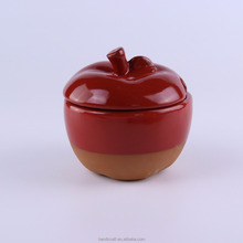 Funny Terracotta Spice Jar Apple Shape Ceramic Jar