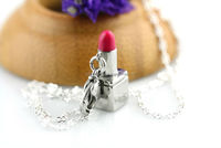 Stainless Steel lip stick key chain/pendant-color rasberry rose chocolate Etc.SSP13P01543