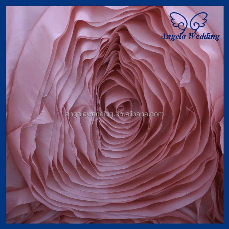 CL052HA New many colors custom made round hand made flower fancy wedding blush pink 90'' round taffeta rose tablecloths