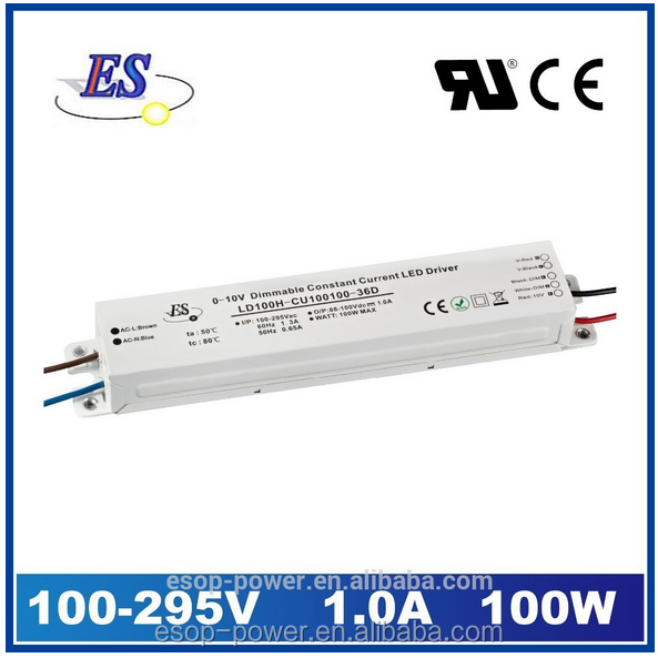 100W 1000mA 100V AC DC Constant Current 0-10V Dimmable LED Driver with CE UL CUL