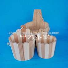 2015 new natural handmade antique wooden bucket,new products cheap garden hand mini custom wholesale rope handle wooden bucket