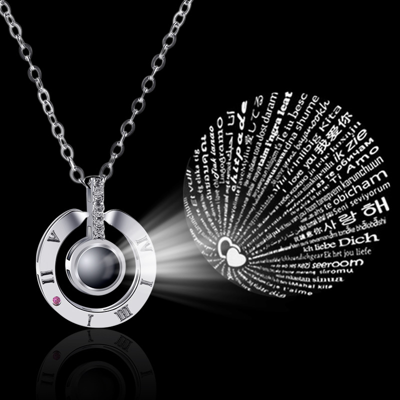 Hot Selling 925 Sterling Silver Projecting <strong>100</strong> Languages I Love You Necklace