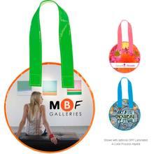 Round Shape Custom Reusable Grocery PP Pictures Printed Non Woven Tote Folding shopping bag