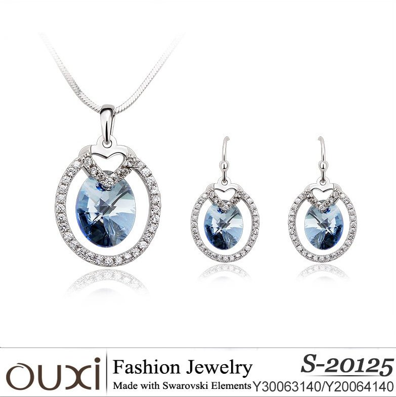 OUXI korean style 925 silver crystal fashion jewelry set S-20125