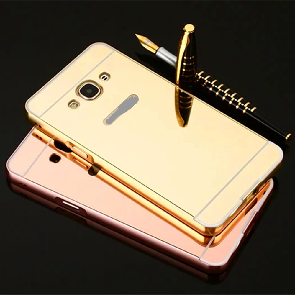 Luxury Mirror Metal Case Acrylic Plastic Hard Back Cover For Samsung Galaxy J3 Pro