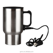 16oz Electric Heated Travel Coffee Cup Mug Car 12V Adapter USB,Thermal Travel Cup Car Electric Thermos Bottle Heating mug