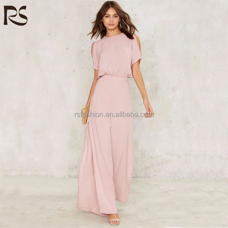 2017 latest fashion wide leg side slit design ladies office wear