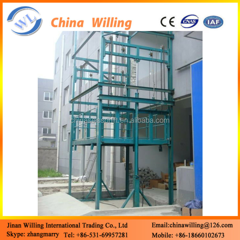 Vertical goods lift with safety net cargo lifting WLL3.0-4.5