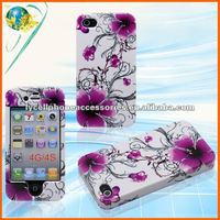 For Apple iphone 4G 4S Accept Paypal Purple Flower Hard Rubber Mobile Phone Design Skin Case
