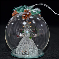 New design hanging christmas ornament, decoration and gift,8cm glass covered fruited christmas tree with color change LED lights