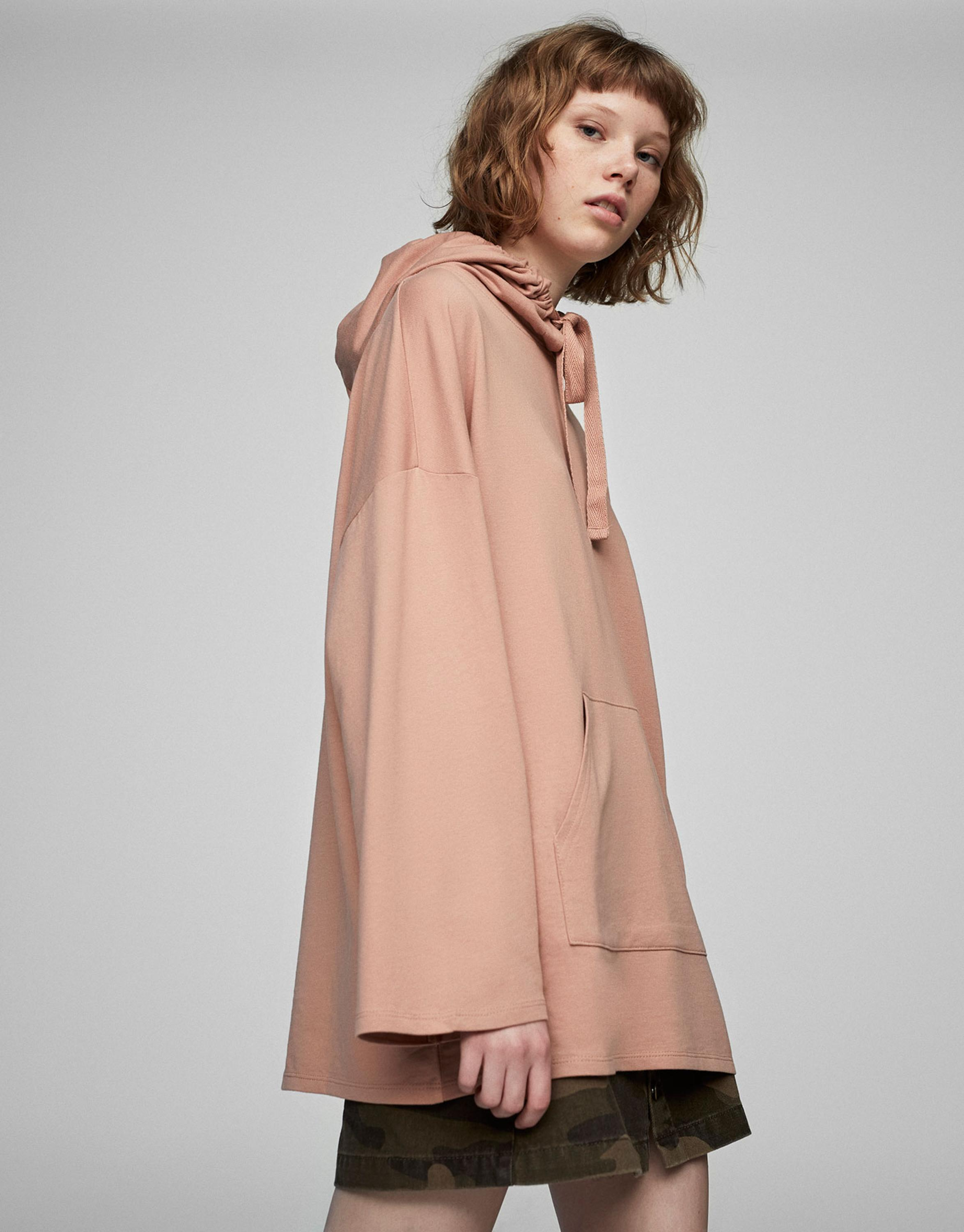 Fall autumn casual loose thin hoodie nude off white hoodie color midi frocks 2017 new style OEM clothes