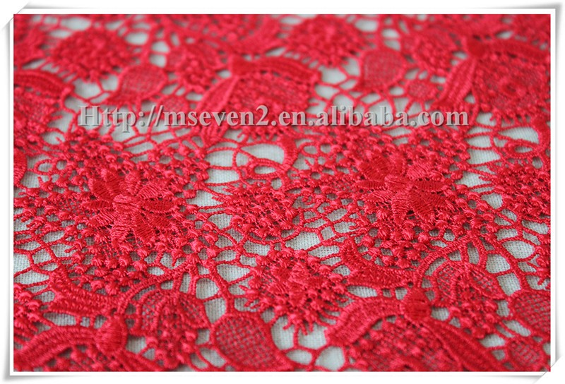 Embroidery lace fabric with beautiful water soluble schiffli embroidered textiles fabric