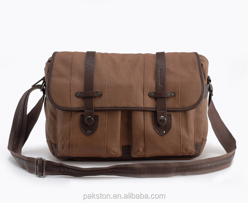 Cheap canvas messenger bag wholesale Brown canvas shoulder bag