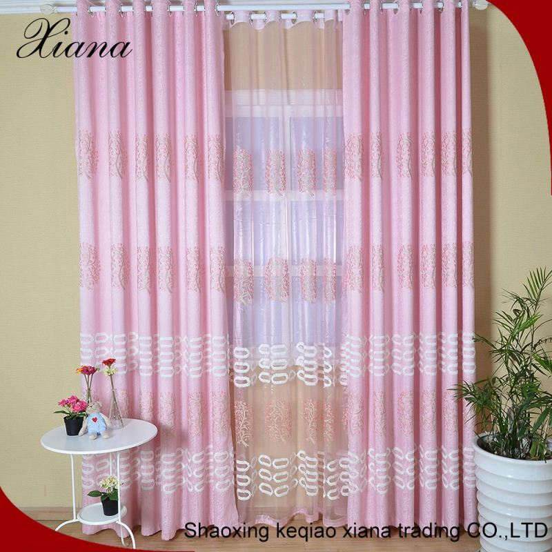 XB8647 latest design pure poly embroidery curtain macrame fabric ly hospital curtains