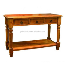 living room furniture wooden antique rustic 3 drawers round legs hall table/ console table