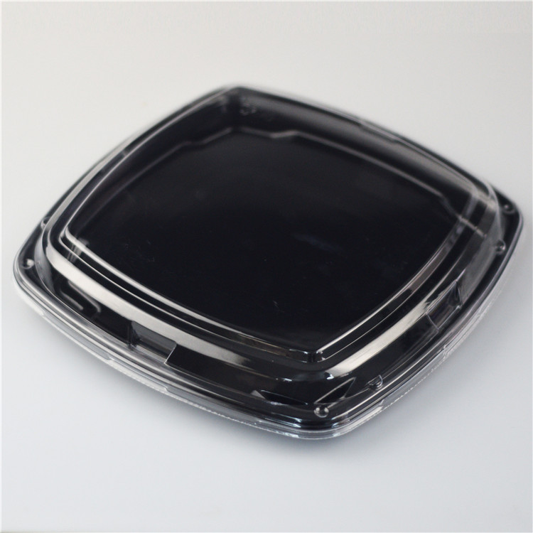 KW1-3127Black Food Grade Black Disposable Plastic Sushi Take Out Box Tray Container