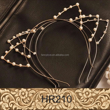 Yiwu Factory Wholesale Fashionable New Pearl Crystal Cat Ears Metal Headband