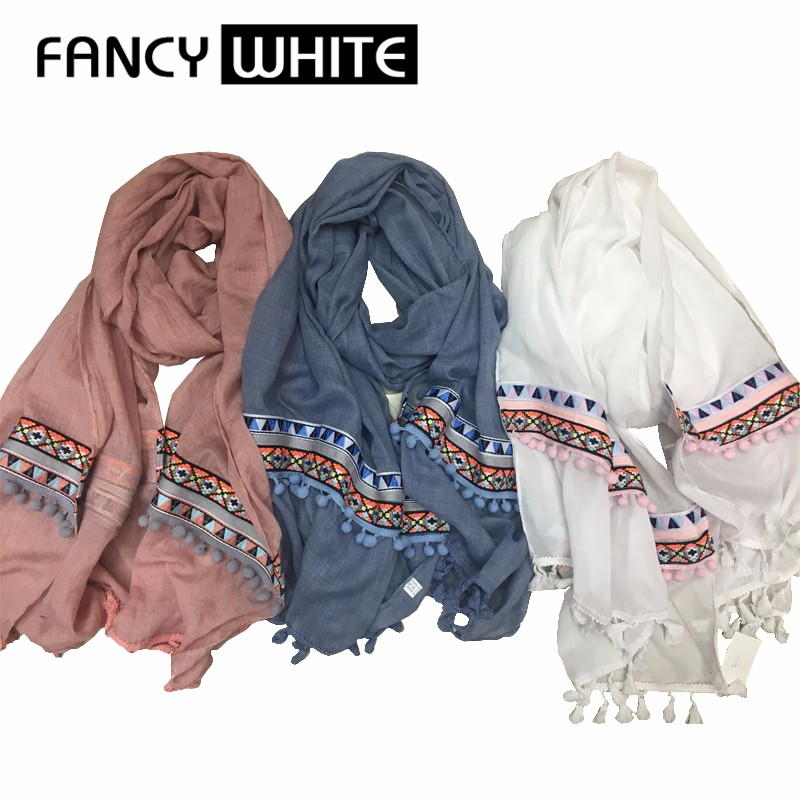 Factory direct China ladies latest hand designer spring season embroidery scarf