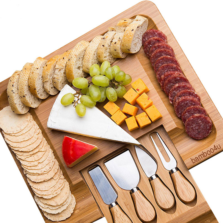 Wholesale bamboo wine and cheese board wooden with knifes