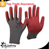 SRSAFETY hot sale red polyester palm coated latex work gloves,garden