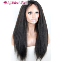 African American Italian Elastic Band Brazilian Hair Glueless Full Lace Human Hair Wig With Kinky Straight Hair