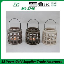 Ceramic hurricane lantern with stainless steel handle ML-1746