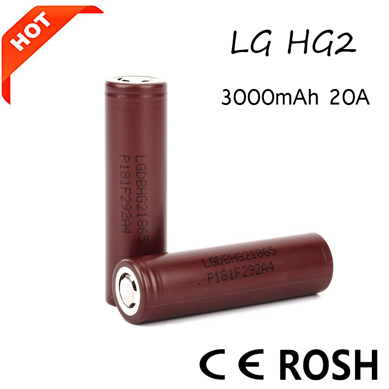 Factory Price 18650 3.7V LG HG2 3000mAh high drain rechargeable battery for flashlight
