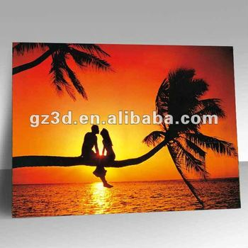 Peaceful 3d natural scenery pictures of coconut tree 3D printing picture (OL-002)