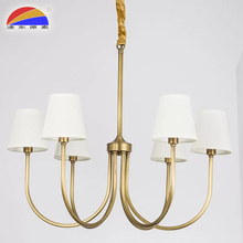 E14 energy saving or led copper material 6 heads restaurant pendant lighting with fabric lampshades