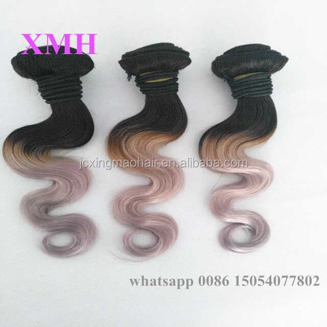 Best selling 12inch ombre color hair bundles brazilian body wave hair 100% virgin human