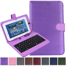 China Factory Custom Hard Leather Folding Folio Case Cover with Micro USB Keyboard for 7 inch Tablet