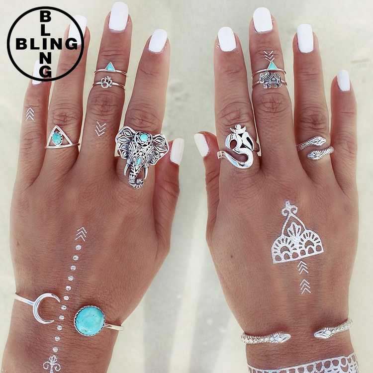 >>>8PCS/Set Antique Silver Plated Vintage Bohemian Turkish Midi Ring Set Snake Turquoise Ring Knuckle Rings For Women