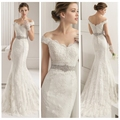 white sexy boat neck a line lace wedding receptin dress