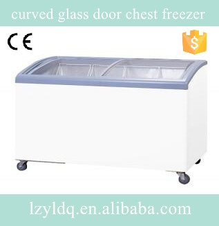 curved glass door chest freezer/chest showcase/top glass chest freezer in best price