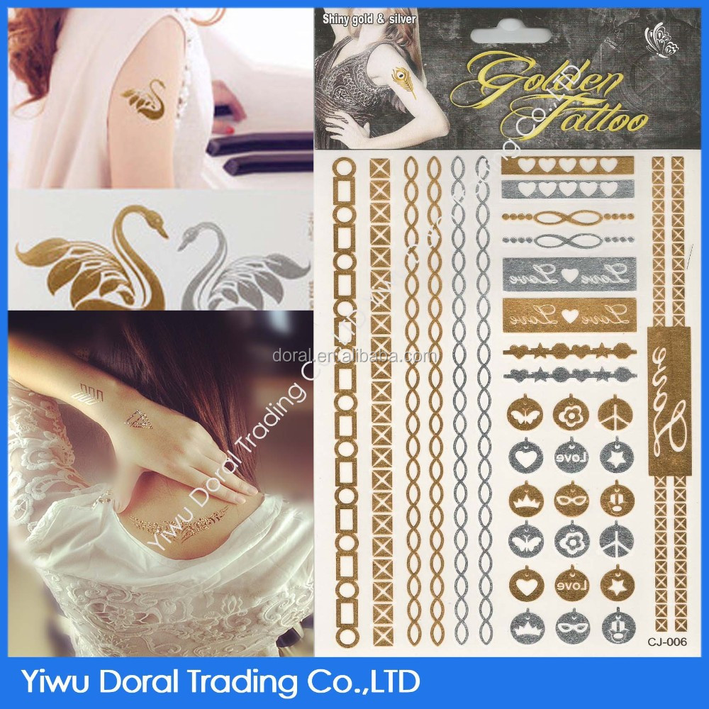 body metallic temporary bracelet tatoo/ gold chain metallic tattoo stickers for hands