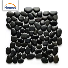 Natural Stone Polished Black Pebbles Mosaic For Decoration Bathroom Mosaic
