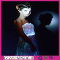 Fashion made to measure led optic fiber wedding dress