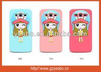 Hot sale cartoon xiaoxi 3D silicone Cute girl case for iphone 4 4S for sumsumg galaxy note2 3