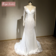 2018 long sleeve backless fishtail long tail Alibaba lace wedding dress