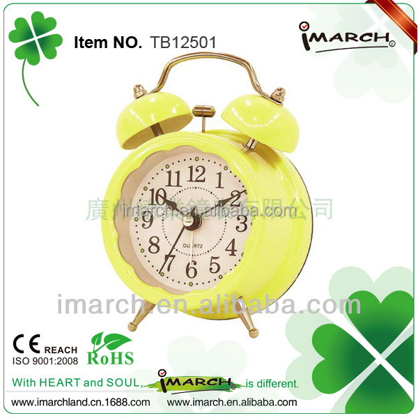 Bright Yellow/Mini Twin Bell Alarm Clock with Cartoon Dial