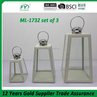 Hot selling indooe and outdoor simple white antique diamond metal lantern with glass panels ML-1732 set of 3