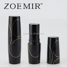 Wholesale lipstick container oxidation black pregnant lipstick tube with gold writing