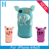 Piggie cute 3d cartoon silicon animal case for iphone 4 4G