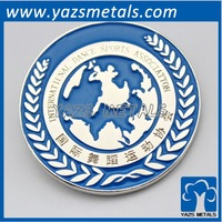 custom world shape enamel badge, with personal logo requirement