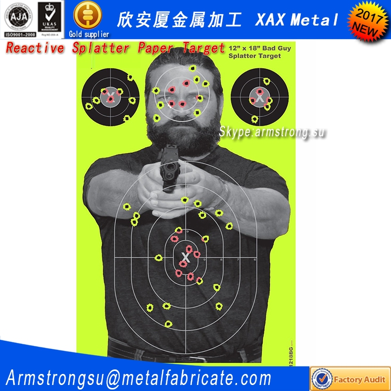 "XAX22T Splatterburst Targets - 12 x18 inch - ""Bad Guy"" Reactive Shooting Target - Shots Burst Bright Fluorescent Yellow or Red <strong>U</strong>"