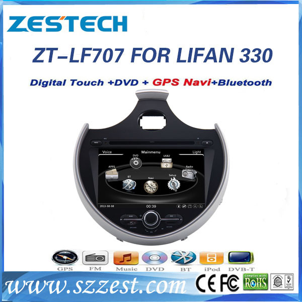 Zestech 2 din car dvd gps navigation system for Lifan 330 with Dual Zone, anti-glare touch screen