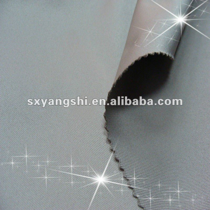 non-Spandex polyester twill stretch woven fabric