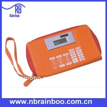 Hot sale folding solar PVC pen bag calculator, wallet calculator